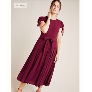 Gal Meets Glam Bette Bow Tied Midi Dress Burgundy